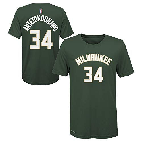 Youth NBA Milwaukee Bucks Giannis Antetokounmpo #34 Green Name & Number T-Shirt (Youth Medium (10/12))