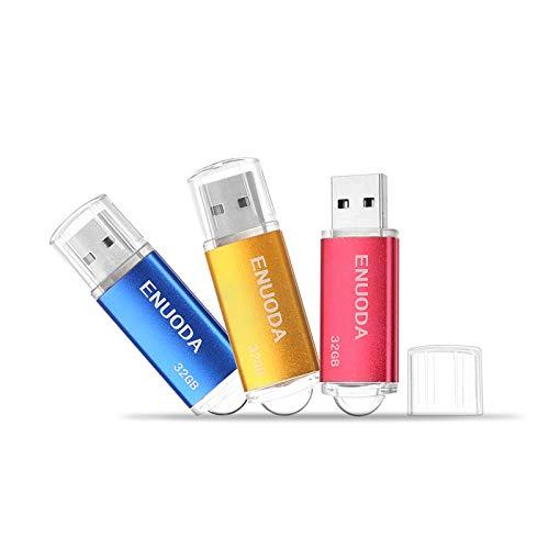 3 Pezzi 32GB Chiavetta ENUODA Pennetta Girevole USB 2.0 Unità Memoria Flash (Blu Oro Rosso)