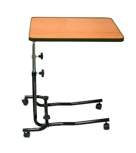 Days Overbed Table, Portable Desk with Castor Wheels, Writing Surface to Use in Bed or a Wheelchair, Mobile Desk with Adjustable Height and Laminated Teak Top