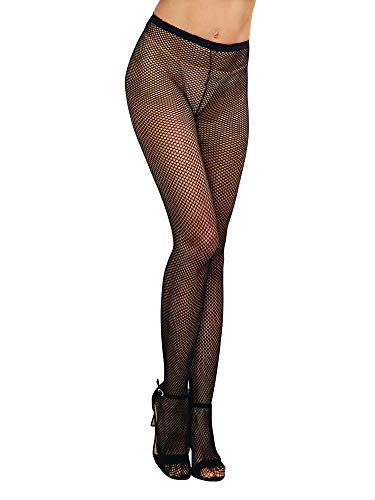 Dreamgirl Women's Fishnet Pantyhose with Back Seam, Black, One Size