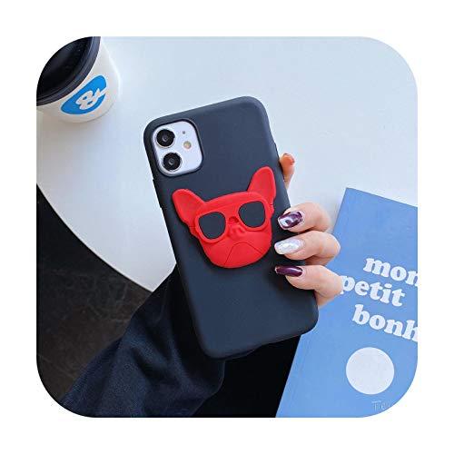 Custodia per iPhone XSMax con bulldog francese 3D per iPhone 6 7 8 Plus 12 Mini 11 Pro X XS XR MAX per Samsung Galaxy S20 S8 S9 S10 S20 Pet Dog Cover-Nero