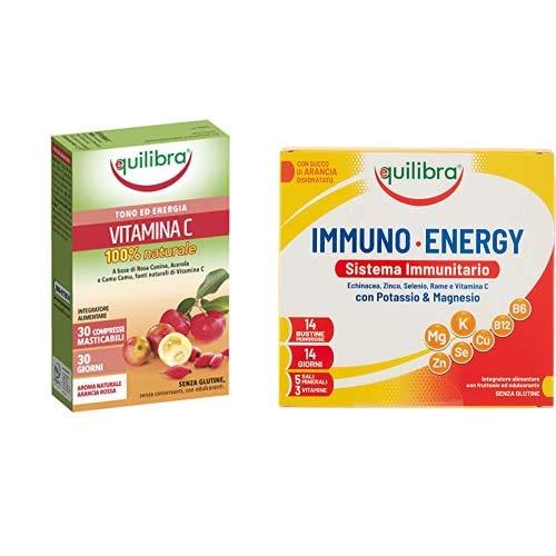 Equilibra Vitamina C, 30 Comperesse Masticabili, 42 gr + Immuno Energy, 14 bustine
