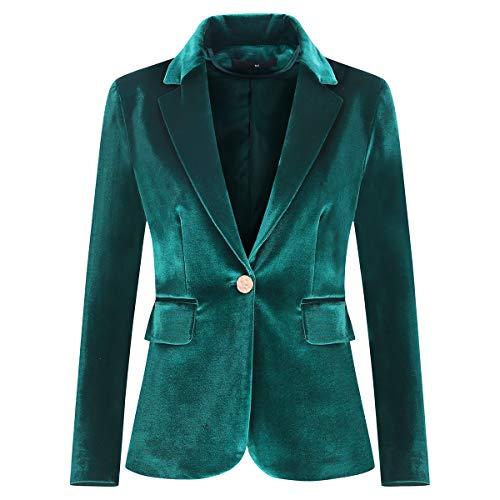 Women's Velvet 1 Button Blazer Jacket Office Work Suit Jacket Party Dress Coat Green