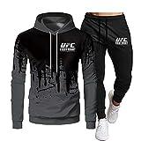 SHIXR Hombres MMA Fitness UFC Sudadera con Capucha y Pantalones Impresos Sudadera para Correr Camisa Traje de Jogging para Hombres Traje de chándal de Manga Larga Traje de Sudadera,Negro,XL