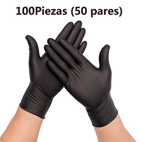 Guantes de Nitrilo Negro Guantes Desechables sin Polvo para Cocinar, Limpiar, Caja 100 Piezas (XL)