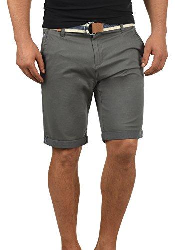 !Solid Monty Herren Chino Shorts Bermuda Kurze Hose Mit Gürtel Aus Stretch-Material Regular-Fit, Größe:XXL, Farbe:Dark Grey (2890)