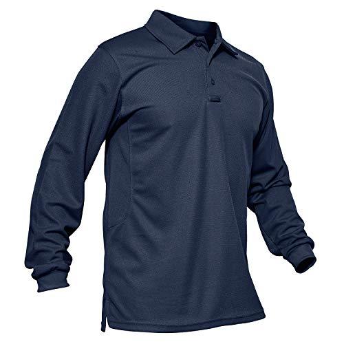 KEFITEVD Polo táctico Camisa Deportiva de Manga Larga para Hombre Polo Exterior de poliéster Golf Azul Marino