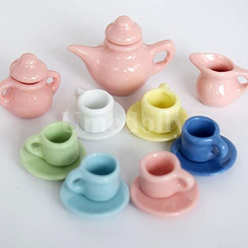 DAJIANG Lindo colorido 1/12 casa de muñecas en miniatura de porcelana taza de té Conjuntos Mini tetera de juego de cocina vajilla de juguete