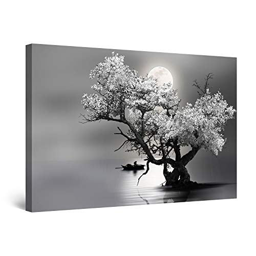 Startonight Cuadro Moderno en Lienzo - Árbol Flores y Luna en Blanco y Negro - Pintura Naturaleza para Salon Decoración 60 x 90 cm