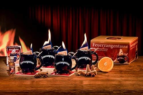 Feuerzangentasse 4er-Set, Schwarz (mit Rum) - für Feuerzangenbowle