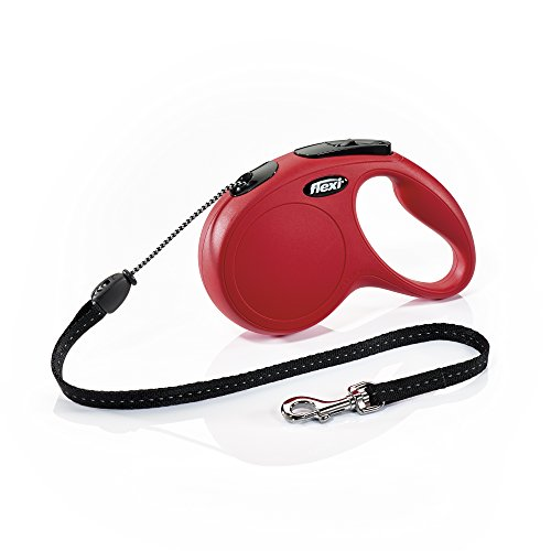 FLEXI New Classic Retractable Dog Leash (Cord), 16 ft, Medium, Red