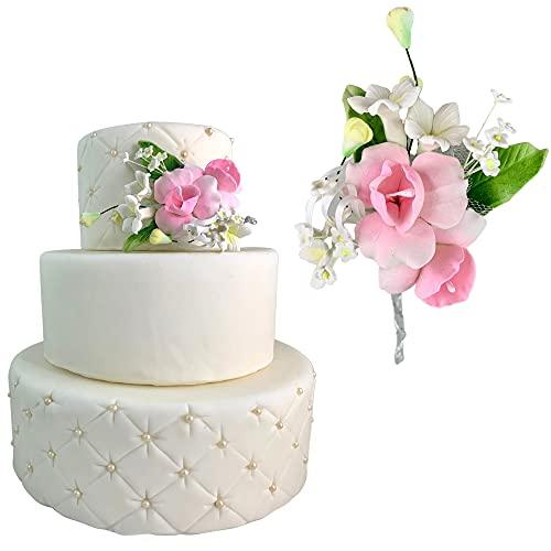 Bouquet de fleurs en sucre rose et blanc de 10x6cm, cake topper pour la décoration de gâteaux, fête, anniversaire, baptêmes et mariages