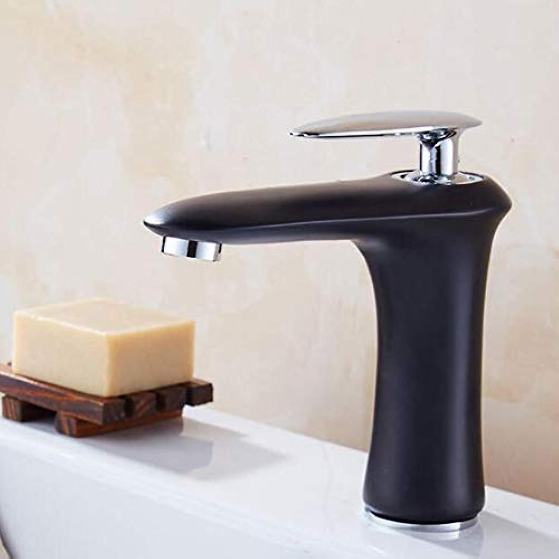 BFTAPS Hohe Badarmatur Waschtischarmatur Wei Waschbecken Wasserhahn Modernen Messing heies und kaltes Wasser Mischbatterie Einhebelmischer,schwarzFaucet,Short