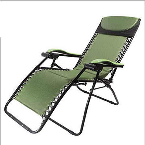 JMSL Sillón de jardín Ajustable Zero Gravity Sillón reclinable Plegable portátil Soporte 300Kg Verde