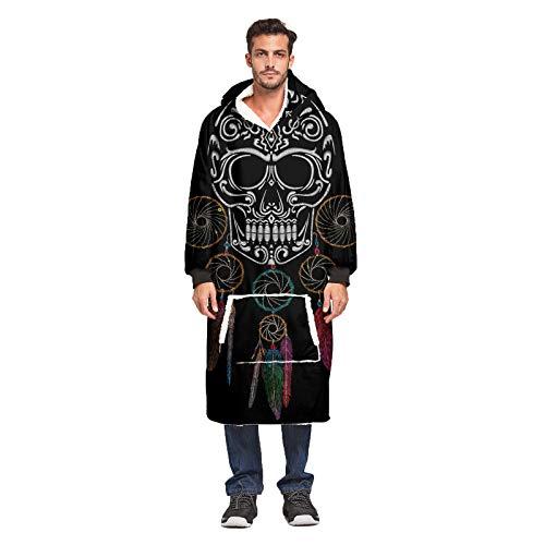 KPII Decken Kapuzenpullover, 3D Übergroße Hoodie Sweatshirt, Comfy Warm TV Pullover, 1 Größe Passt Alle,Schwarz,one
