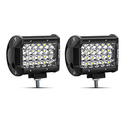 Safego 4' 72W Luz de Trabajo LED Foco Led Coche 6000LM Spotlight IP68 Impermeable de Faros Led Tractor Blanco Frío Para Off Road Camión Moto SUV Barco 12V 24V, Garantía de 1 año, 2 piezas