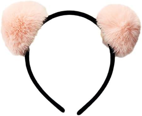 JasmineLi Adorable Pompom Ball Ears Hair Hoop Fluffy Rabbit Faux Fur Headband Hair Clasps Accessories
