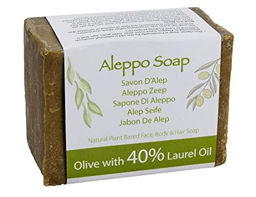 Jabón natural de Alepo tradicional y genuino, hecho a mano con aceite de oliva y aceite de laurel al 40% 200g