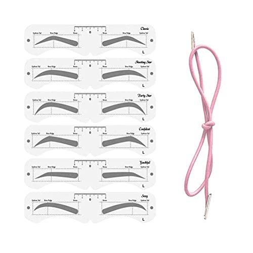 ARTOCT Kit de Pochoir à Sourcils, 6 Paires de modèle de Sourcils avec Sangle élastique, kit de façonnage de Sourcils réutilisable Outil de Maquillage Bricolage pour débutant