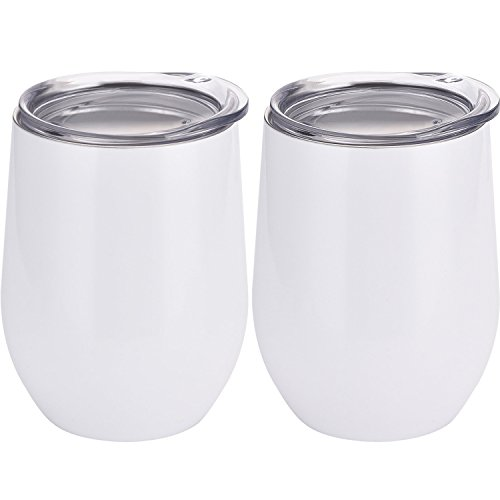 Skylety 12 oz Double-insulated Stemless Glass, Stainless...