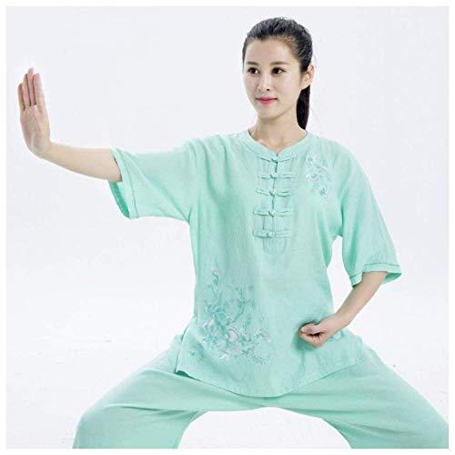 JY&WIN Ropa de Tai Chi de Artes Marciales Qigong Tradicional Chino Uniforme de Tai Chiquan Bordado de algodón de Lino de Verano Verde-XL