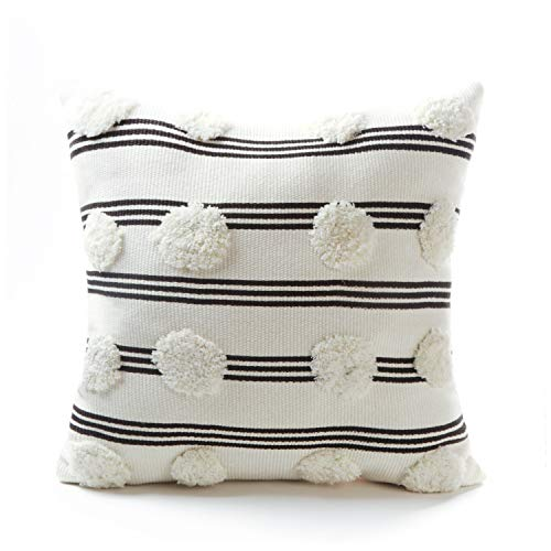 Tiffasea Tufted Pompoms Throw Pillow Cover 18x18, Boho Farmhouse Black and White Pillowcase, Cute Striped Cushion Cover Decorative Square Pillow Sham for Bed Couch Sofa Bedroom Living Room