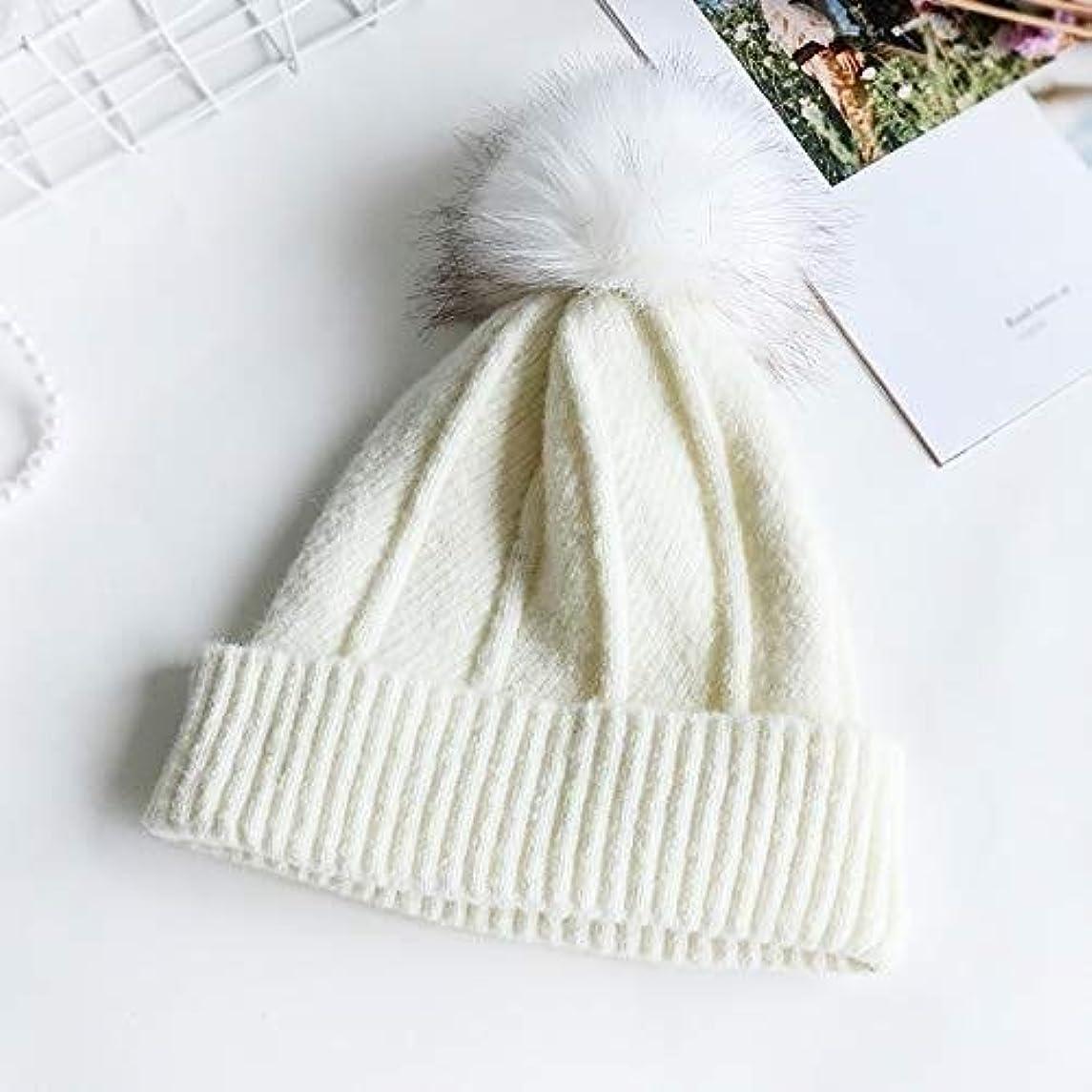 ポテトイースターポップZHWEI 帽子女性の冬の野生ニット帽子冬のソリッドカラー暖かい肥厚の耳の保護 柔らかく暖かい (Color : White, Size : 54-58cm)