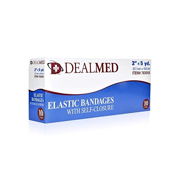 """Dealmed 10 Pack 2"""" Elastic Bandage Wrap with Self-Closure, Comfort Compression Roll, 4.5 Yards Stretched 2 PACK OF COMPRESSION WRAPS 