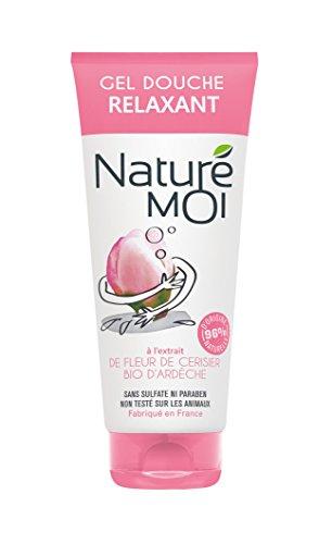Naturé Moi – Gel douche relaxant à l'extrait de fleur de cerisier d'Ardèche bio – Hydrate, nourrit et protège les peaux normales à sèches, 200ml