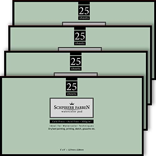 SHCPIRERR FARBEN Watercolor Paper Block 5x9', Pack of 4, 100 Sheets 140lb/300gsm, Heavyweight Cold Pressed, Acid Free, watercolor pad 25 sheets each 5x9 Ideal for Watercolor Techniques and Mixed Media
