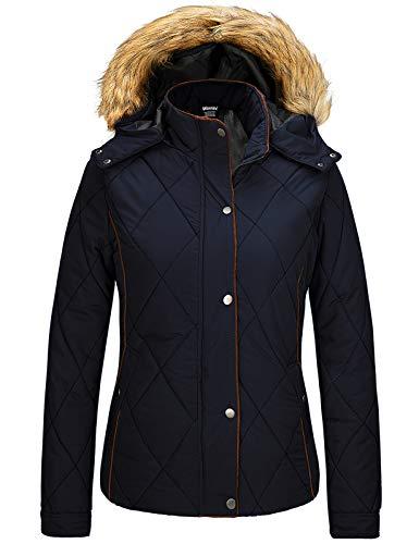Wantdo Women's Winter Coat Waterproof Warm Puffer Jacket with Fur Hooded Navy M