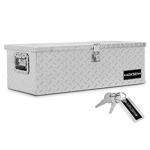 "ARKSEN 30"" Aluminum Diamond Plate Tool Box Pick Up Truck Bed RV Trailer Toolbox Storage Lock Keys, Silver"