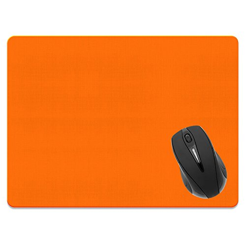Extra Large (X-Large) Size Non-Slip Rectangle Mousepad, FINCIBO Solid Orange Mouse Pad for Home, Office and Gaming Desk