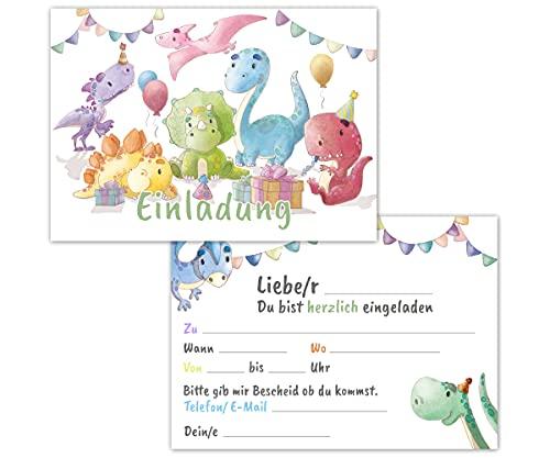 Einladungskarten Kindergeburtstag 12er Set mit Dinos - Geburtstagseinladungen für Mädchen und Jungen bis 10 Jahre – allgemeine Einladung Karte, ideal für die Party zur Einschulung und Geburtstag