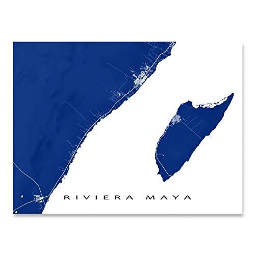 Riviera Maya Map Art Print, Mexico, Playa del Carmen, Tulum, Cozumel