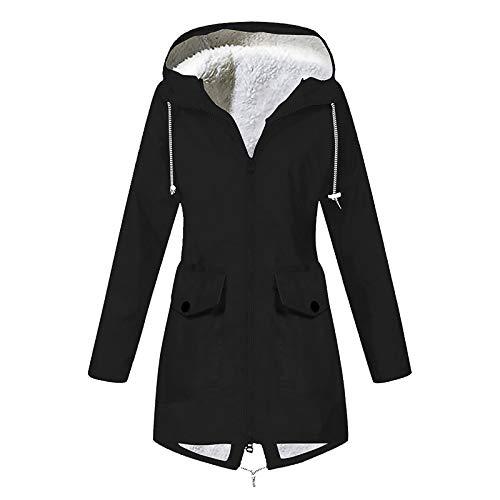 Women Waterproof Plus Velvet Coat Outdoor Sports Pocket Hooded Hem Split Jacket Outerwear URIBAKE