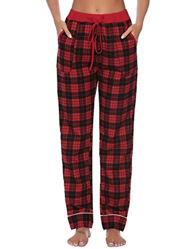 iClosam Damen Baumwolle Schlafanzughose Pyjamahose Nachtwäsche Hose Lang Sleep Hose Pants Kariert