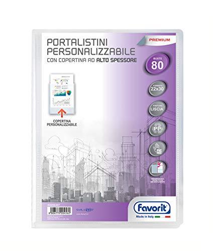 Favorit 400090487 - Portalistino Personalizzabile Premium, 80 Buste, Trasparente