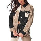 cherrypop Patchwork Harajuku Jeans Chaquetas para las Mujeres Streetwear Vintage Estética 90S Abrigos Casual Otoño L Marrón
