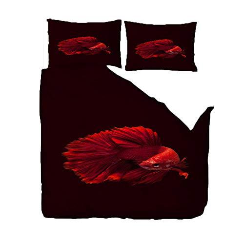 duvet cover 3 piece set Super King/220x260cm/86.5x102 inchesRed goldfish 3D Designs Duvet Cover With 2 Pillowcases 3D Printed Bedding Set With Zipper Closure Soft Microfiber Double Duvet Cover Set