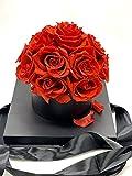 Bouquet Rosas preservadas - Flores día de la Madre - Rosas eternas en Caja Transparente con DEDICATORIA (15 Rosas Rojas Caja Negra)