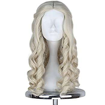 Miss U Hair Women Girl s White Long Blonde Curly Queen Hair Halloween Cosplay Costume Wig