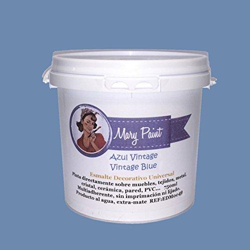 Mary Paint   Pintura para muebles efecto Chalk Paint, Azul Vintage - 750ml