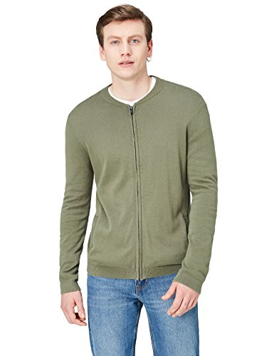 Amazon-Marke: find. Herren Bomber Phrm Strickjacke, Grün (Khaki), L, Label: L