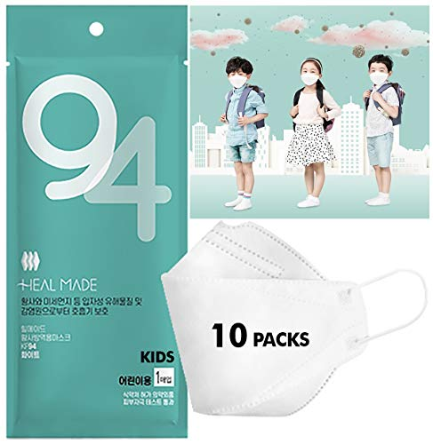 (Pack of 10) 4-Layers Premium Filters (KF94 Certified) (Heal Made) KIDS Face Mask (Age 5 to 14) (Made in Korea) Respirators Protective Disposable Dust Covers (Children, Youth, Teen) Individual Package
