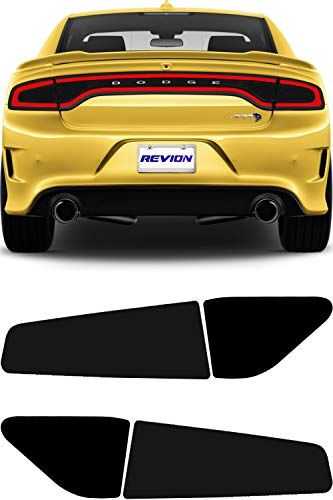REVION Autoworks 2015-2020 Dodge Charger Tail Light Tint Kit | Precut Dark Black Smoke Vinyl Overlays for '15-'20 Dodge Charger Taillight | Tinted Dry Application Film