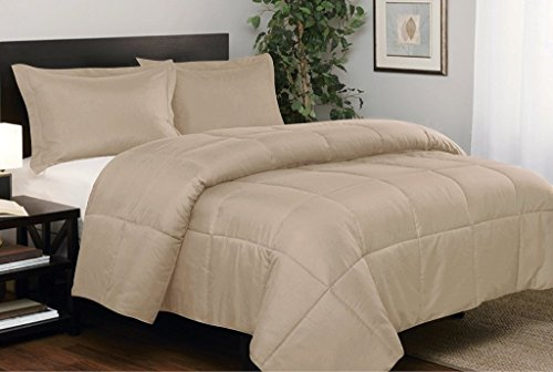 """Premium Quality 1200 Thread Counts Emperor/Wyoming King Size Beige Solid 7pc Bed in A Bag (with 500GSM Comforter & 15"""" Deep Pocket Fitted Sheet) 100% Egyptian Cotton - by AP Beddings"""