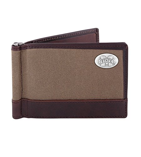 NCAA Mississippi State Bulldogs Canvas Leather Concho Razor Wallet, Olive