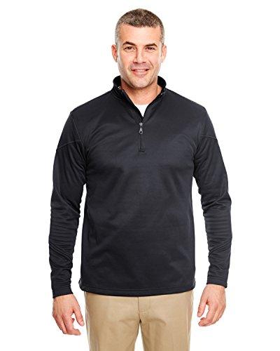 UltraClub 8440 Men's Solid Cool & Dry Sport 1/4-Zip Fleece Coat, Black, Small