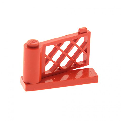 Bausteine gebraucht 1 x Lego System Zaun rot 1x4x2 Gartenzaun Garten Tor Gatter komplett 3186 3187